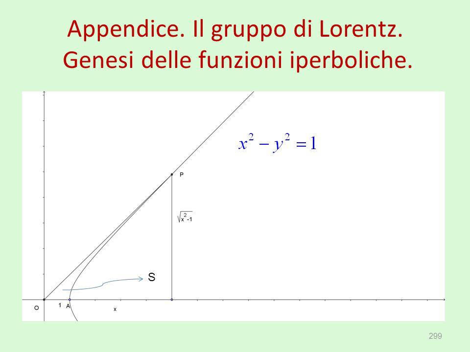 Appendice. Il gruppo di Lorentz. Genesi delle funzioni iperboliche. 299 S