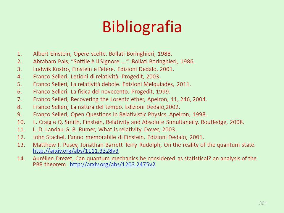 """Bibliografia 1.Albert Einstein, Opere scelte. Bollati Boringhieri, 1988. 2.Abraham Pais, """"Sottile è il Signore …."""". Bollati Boringhieri, 1986. 3.Ludwi"""