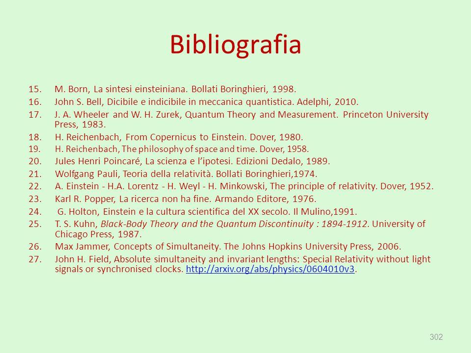 Bibliografia 15.M. Born, La sintesi einsteiniana. Bollati Boringhieri, 1998. 16.John S. Bell, Dicibile e indicibile in meccanica quantistica. Adelphi,