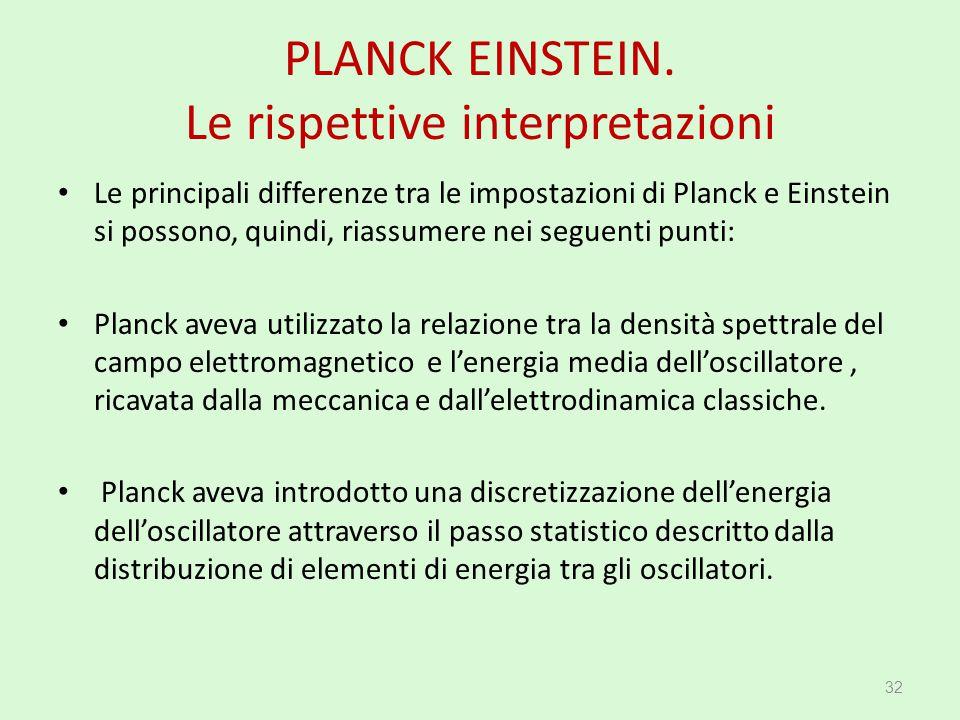 PLANCK EINSTEIN. Le rispettive interpretazioni Le principali differenze tra le impostazioni di Planck e Einstein si possono, quindi, riassumere nei se