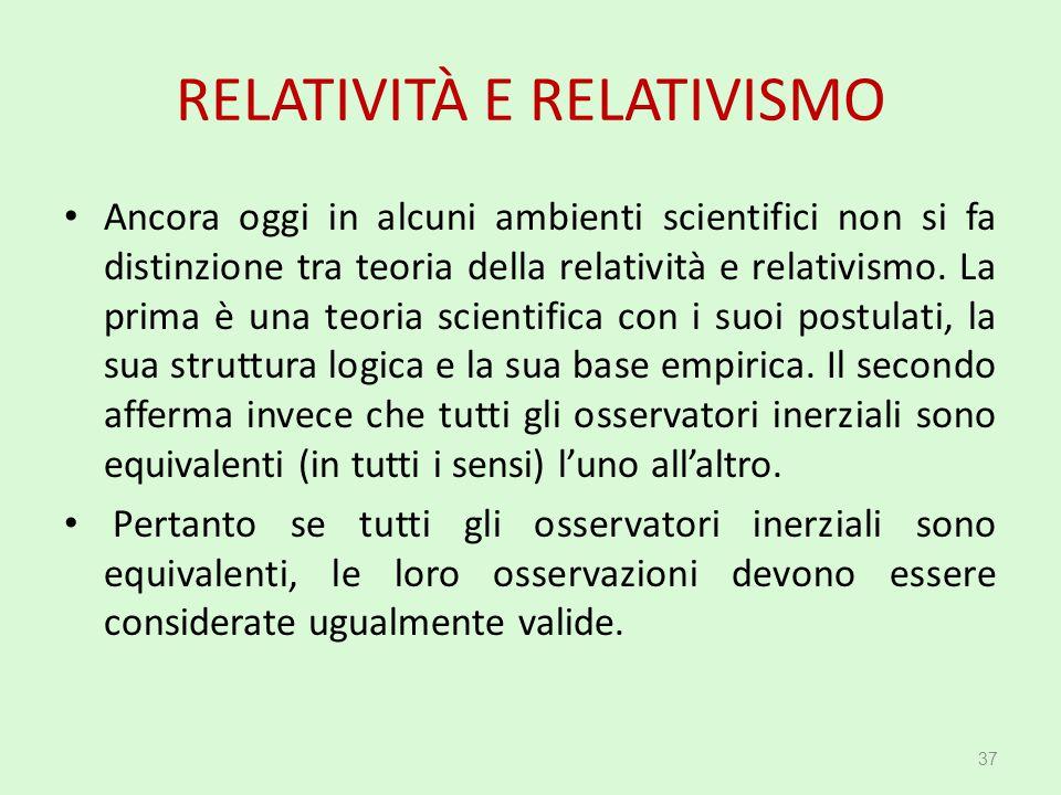 RELATIVITÀ E RELATIVISMO Ancora oggi in alcuni ambienti scientifici non si fa distinzione tra teoria della relatività e relativismo. La prima è una te