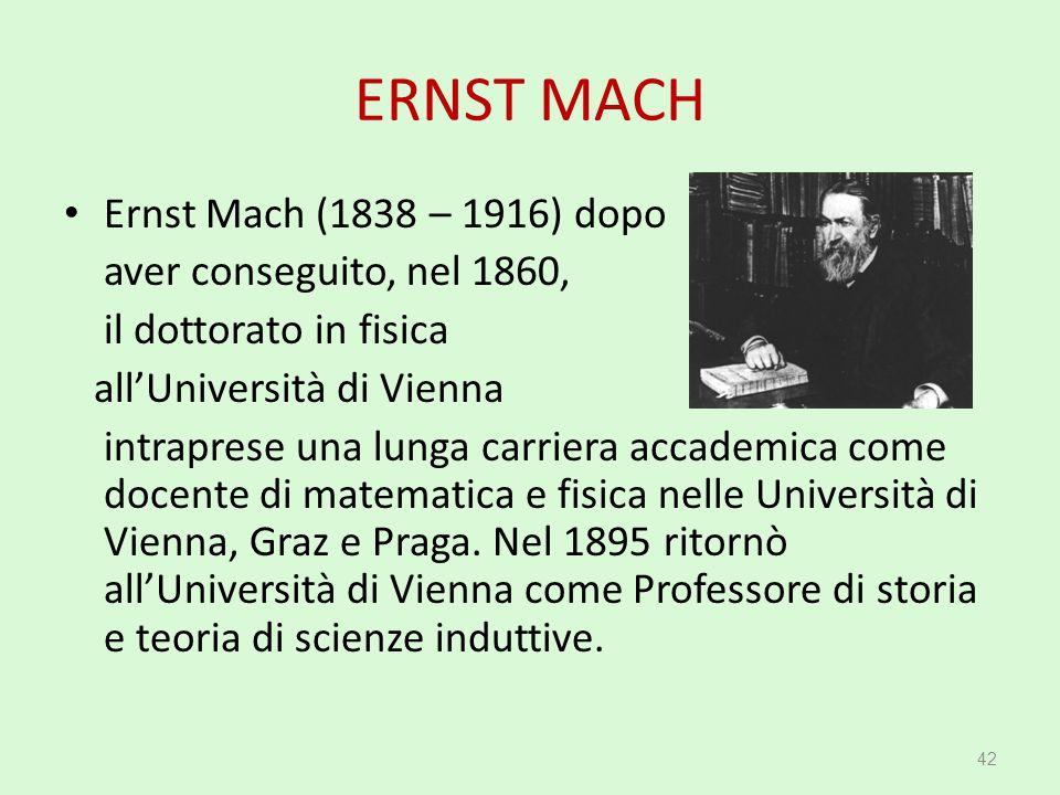 ERNST MACH Ernst Mach (1838 – 1916) dopo aver conseguito, nel 1860, il dottorato in fisica all'Università di Vienna intraprese una lunga carriera acca