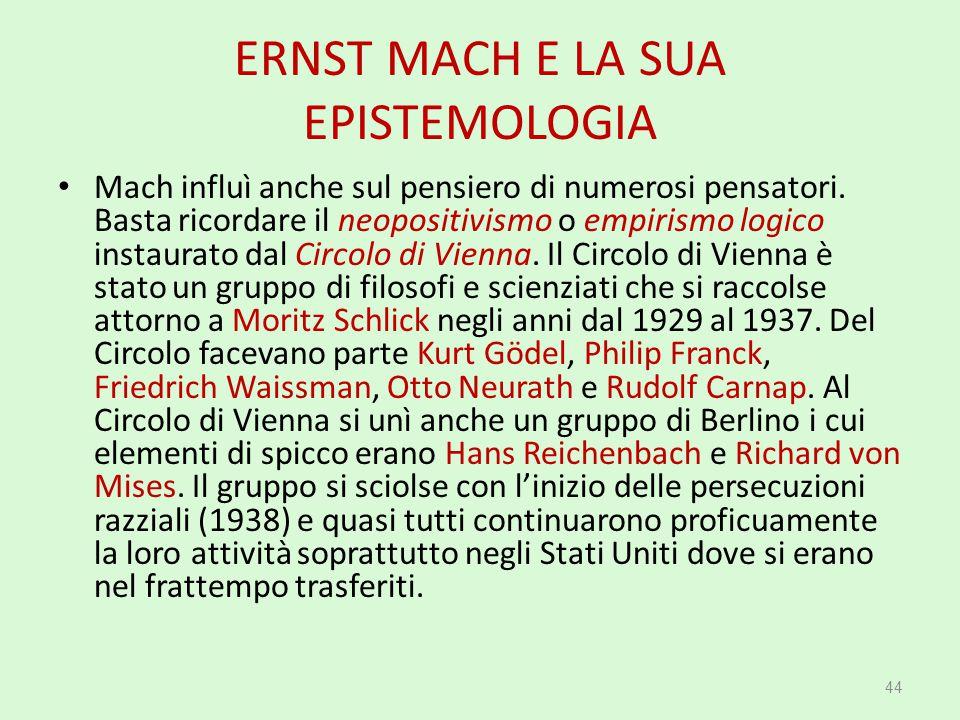 ERNST MACH E LA SUA EPISTEMOLOGIA Mach influì anche sul pensiero di numerosi pensatori. Basta ricordare il neopositivismo o empirismo logico instaurat
