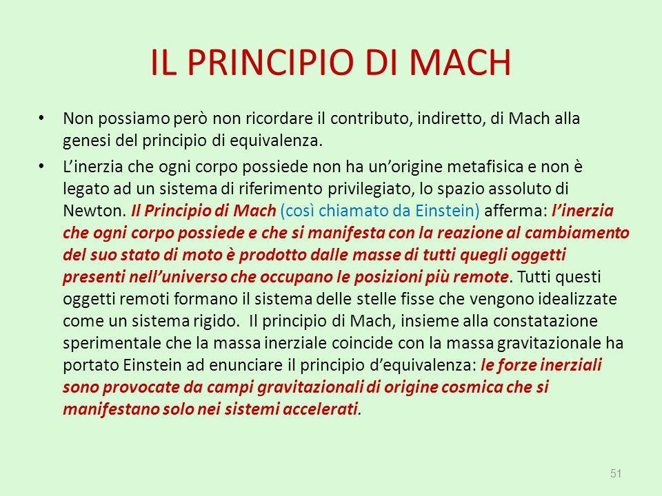 IL PRINCIPIO DI MACH Non possiamo però non ricordare il contributo, indiretto, di Mach alla genesi del principio di equivalenza. L'inerzia che ogni co
