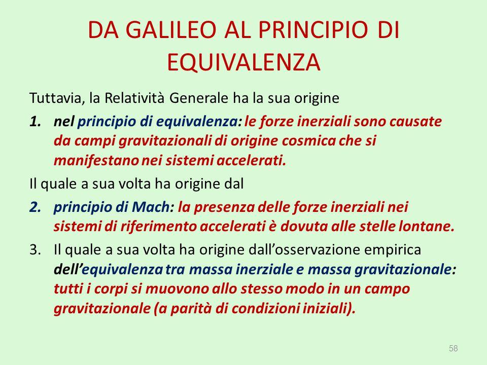 DA GALILEO AL PRINCIPIO DI EQUIVALENZA Tuttavia, la Relatività Generale ha la sua origine 1.nel principio di equivalenza: le forze inerziali sono caus
