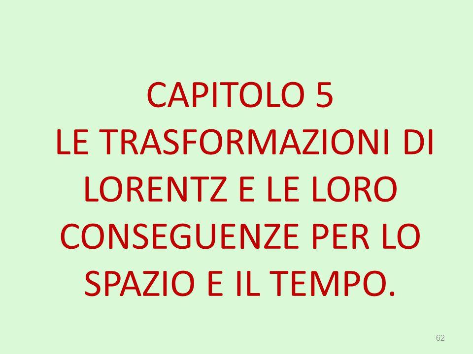 CAPITOLO 5 LE TRASFORMAZIONI DI LORENTZ E LE LORO CONSEGUENZE PER LO SPAZIO E IL TEMPO. 62
