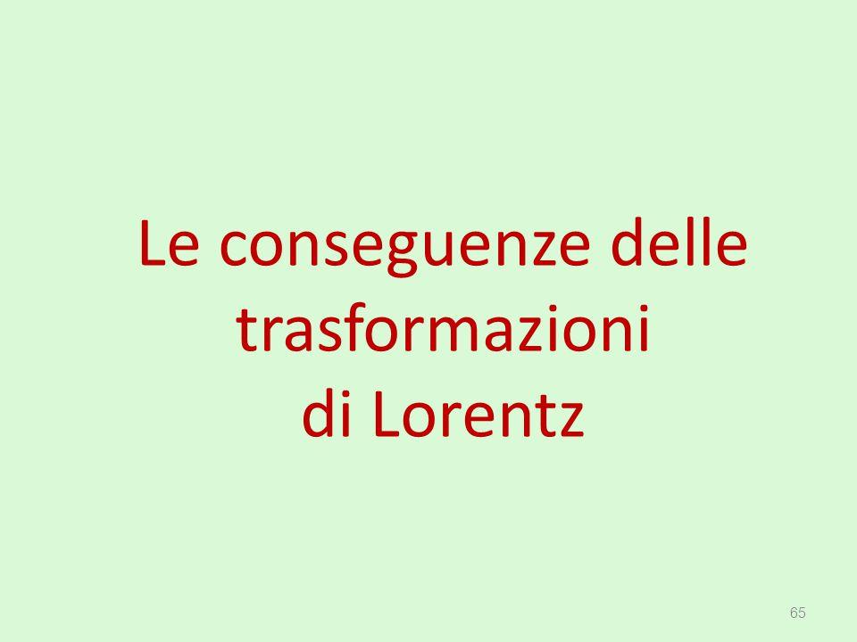 Le conseguenze delle trasformazioni di Lorentz 65