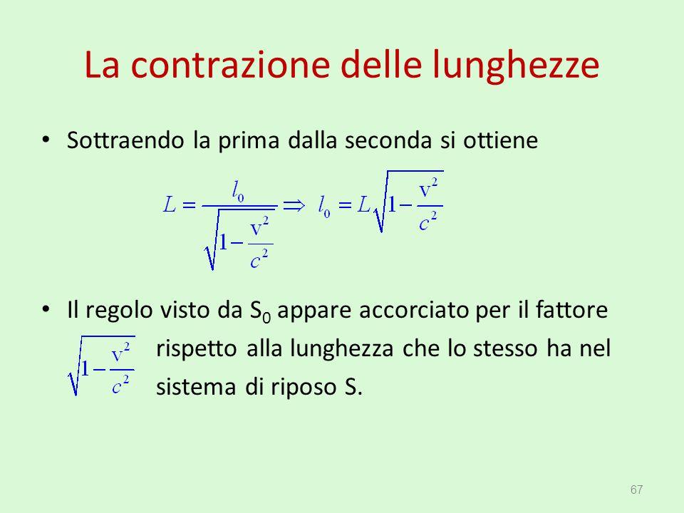La contrazione delle lunghezze Sottraendo la prima dalla seconda si ottiene Il regolo visto da S 0 appare accorciato per il fattore rispetto alla lung