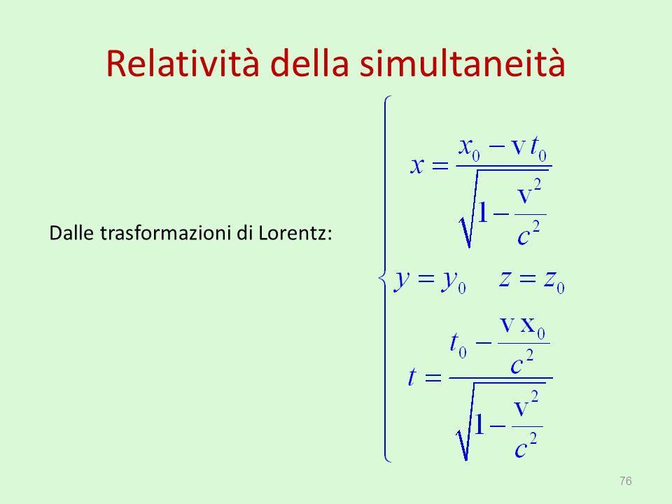 Relatività della simultaneità 76 Dalle trasformazioni di Lorentz: