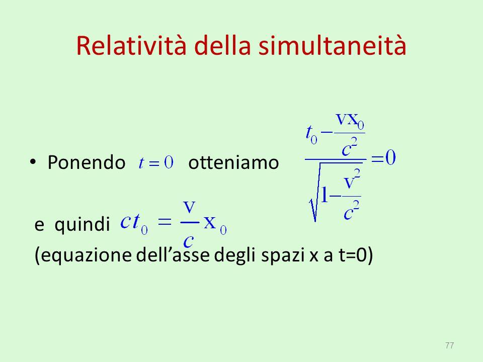 Relatività della simultaneità Ponendo otteniamo e quindi (equazione dell'asse degli spazi x a t=0) 77