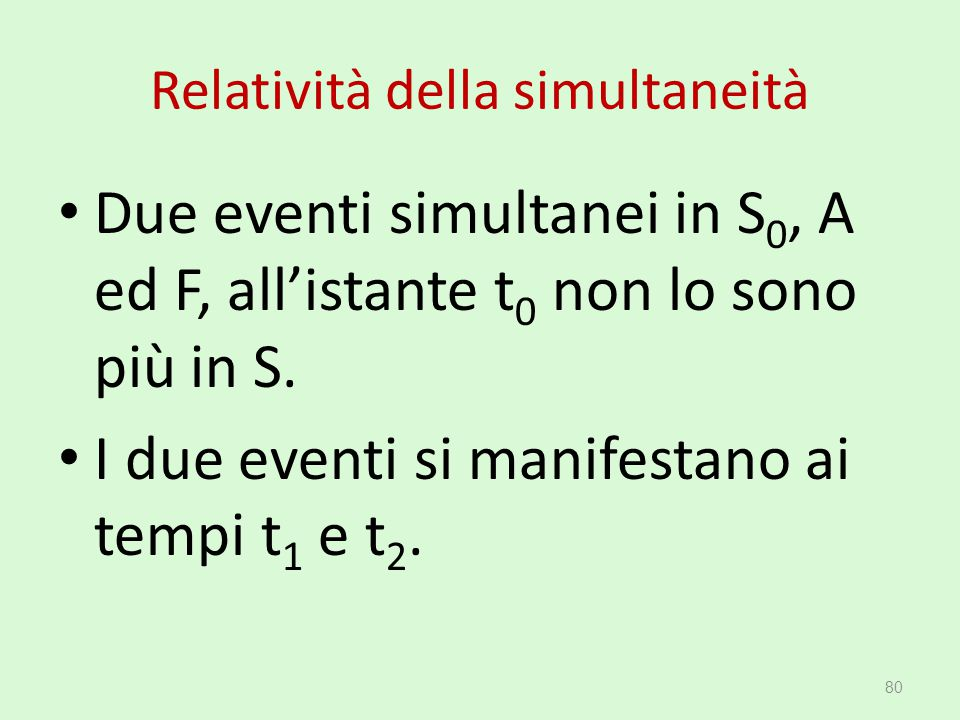 Relatività della simultaneità Due eventi simultanei in S 0, A ed F, all'istante t 0 non lo sono più in S. I due eventi si manifestano ai tempi t 1 e t