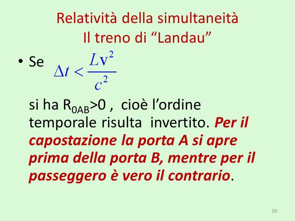 """Relatività della simultaneità Il treno di """"Landau"""" Se si ha R 0AB >0, cioè l'ordine temporale risulta invertito. Per il capostazione la porta A si apr"""