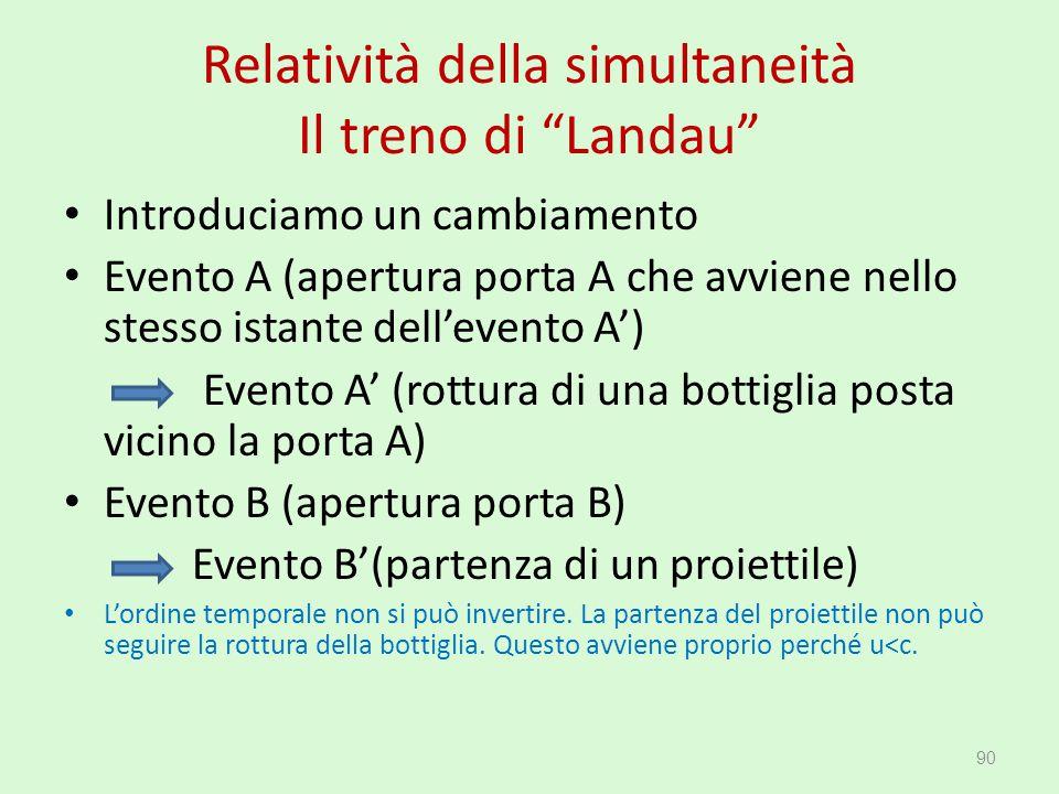 """Relatività della simultaneità Il treno di """"Landau"""" Introduciamo un cambiamento Evento A (apertura porta A che avviene nello stesso istante dell'evento"""