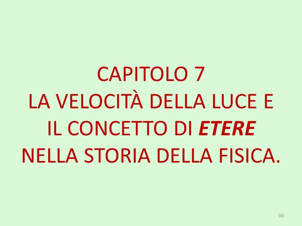 CAPITOLO 7 LA VELOCITÀ DELLA LUCE E IL CONCETTO DI ETERE NELLA STORIA DELLA FISICA. 96
