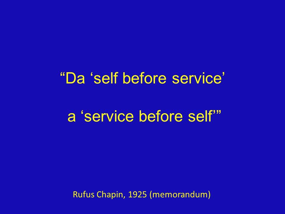 Da 'self before service' a 'service before self' Rufus Chapin, 1925 (memorandum)