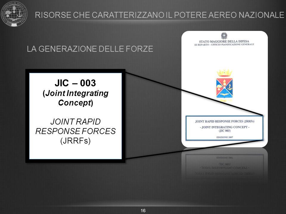 16 JIC – 003 (Joint Integrating Concept) JOINT RAPID RESPONSE FORCES (JRRFs) RISORSE CHE CARATTERIZZANO IL POTERE AEREO NAZIONALE LA GENERAZIONE DELLE