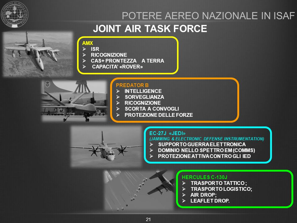 POTERE AEREO NAZIONALE IN ISAF JOINT AIR TASK FORCE 21 AMX  ISR  RICOGNIZIONE  CAS+ PRONTEZZA A TERRA  CAPACITA' «ROVER» PREDATOR B  INTELLIGENCE