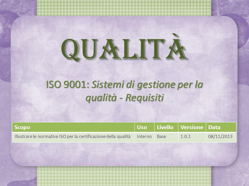 QUALITÀ ISO 9001: Sistemi di gestione per la qualità - Requisiti ScopoUsoLivelloVersioneData Illustrare le normative ISO per la certificazione della qualitàInternoBase1.0.108/11/2013