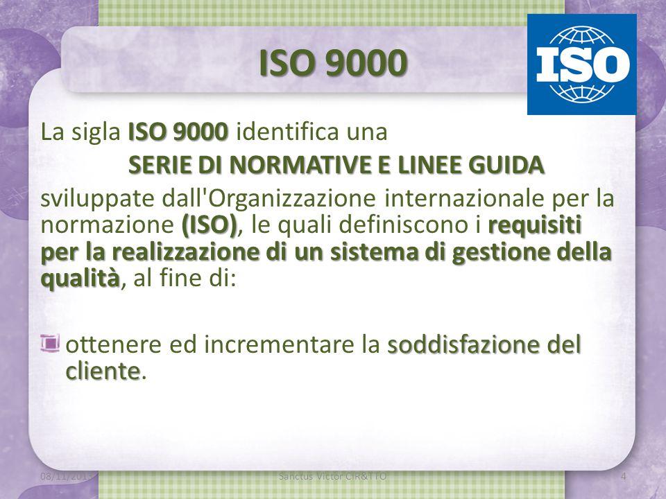 ISO 9000 ISO 9000 La sigla ISO 9000 identifica una SERIE DI NORMATIVE E LINEE GUIDA (ISO)requisiti per la realizzazione di un sistema di gestione della qualità sviluppate dall Organizzazione internazionale per la normazione (ISO), le quali definiscono i requisiti per la realizzazione di un sistema di gestione della qualità, al fine di: soddisfazione del cliente ottenere ed incrementare la soddisfazione del cliente.