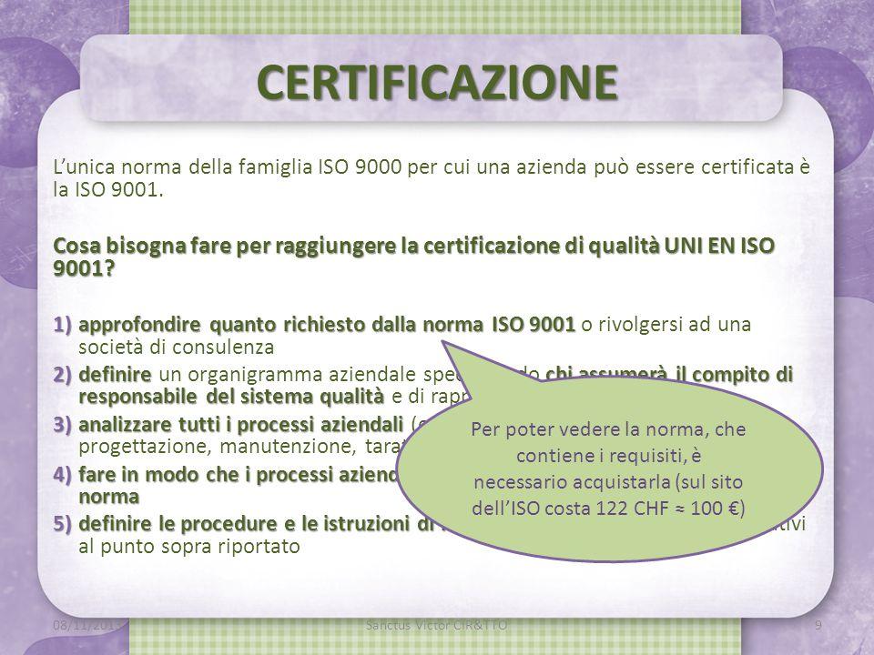 CERTIFICAZIONE L'unica norma della famiglia ISO 9000 per cui una azienda può essere certificata è la ISO 9001.