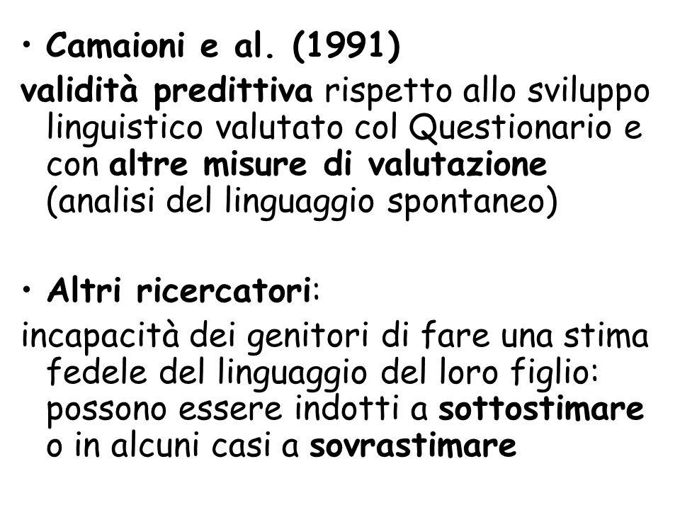 Camaioni e al. (1991) validità predittiva rispetto allo sviluppo linguistico valutato col Questionario e con altre misure di valutazione (analisi del