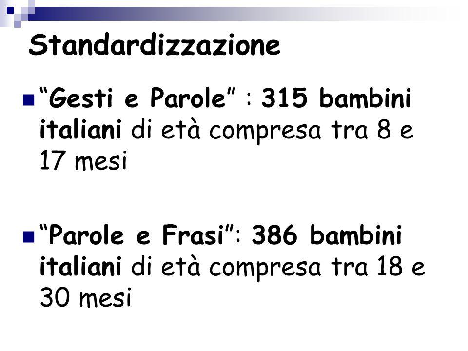 """Standardizzazione """"Gesti e Parole"""" : 315 bambini italiani di età compresa tra 8 e 17 mesi """"Parole e Frasi"""": 386 bambini italiani di età compresa tra 1"""