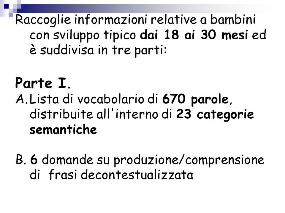 Raccoglie informazioni relative a bambini con sviluppo tipico dai 18 ai 30 mesi ed è suddivisa in tre parti: Parte I. A.Lista di vocabolario di 670 pa