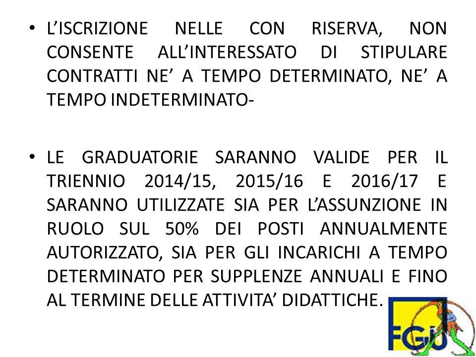 L'ISCRIZIONE NELLE CON RISERVA, NON CONSENTE ALL'INTERESSATO DI STIPULARE CONTRATTI NE' A TEMPO DETERMINATO, NE' A TEMPO INDETERMINATO- LE GRADUATORIE SARANNO VALIDE PER IL TRIENNIO 2014/15, 2015/16 E 2016/17 E SARANNO UTILIZZATE SIA PER L'ASSUNZIONE IN RUOLO SUL 50% DEI POSTI ANNUALMENTE AUTORIZZATO, SIA PER GLI INCARICHI A TEMPO DETERMINATO PER SUPPLENZE ANNUALI E FINO AL TERMINE DELLE ATTIVITA' DIDATTICHE.