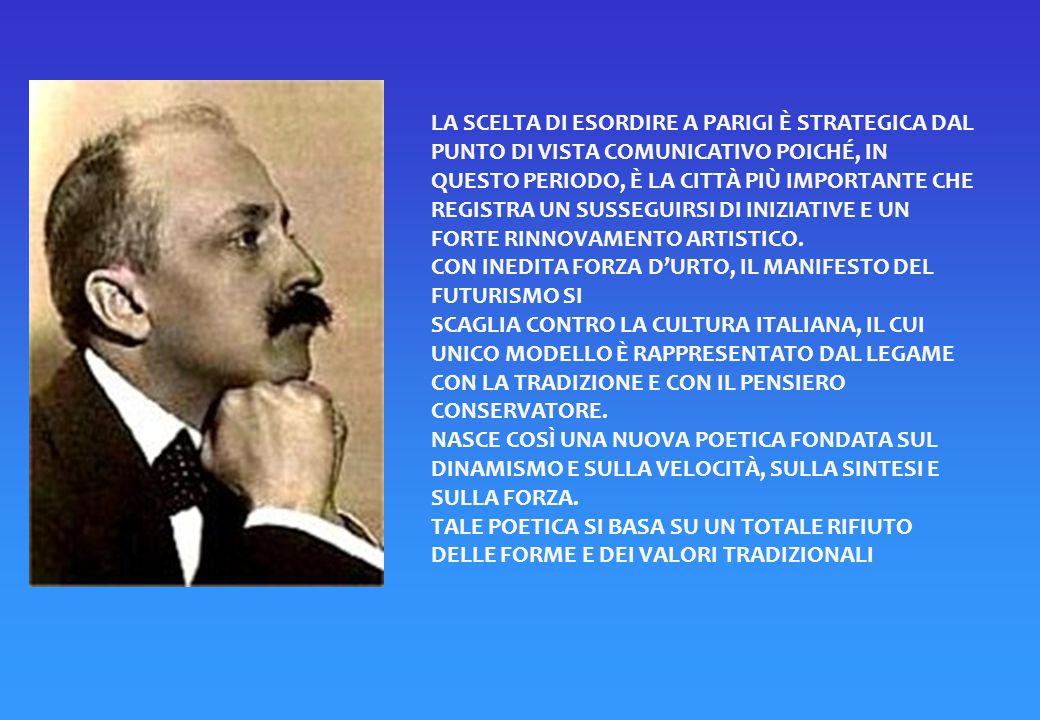 """CON QUESTE PAROLE HA INIZIO IL MANIFESTO DEL FUTURISMO PUBBLICATO IN LINGUA FRANCESE SUL QUOTIDIANO """"LE FIGARO"""" IL 20 FEBBRAIO 1909"""