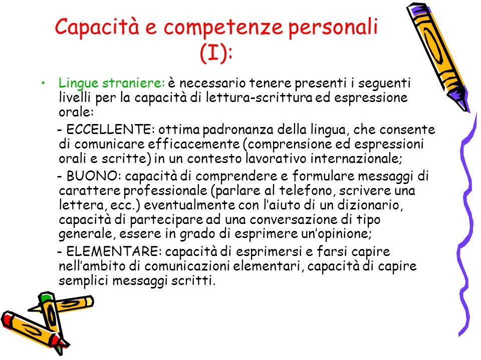 Capacità e competenze personali (I): Lingue straniere: è necessario tenere presenti i seguenti livelli per la capacità di lettura-scrittura ed espress