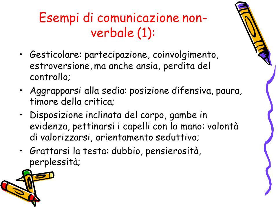 Esempi di comunicazione non- verbale (1): Gesticolare: partecipazione, coinvolgimento, estroversione, ma anche ansia, perdita del controllo; Aggrappar