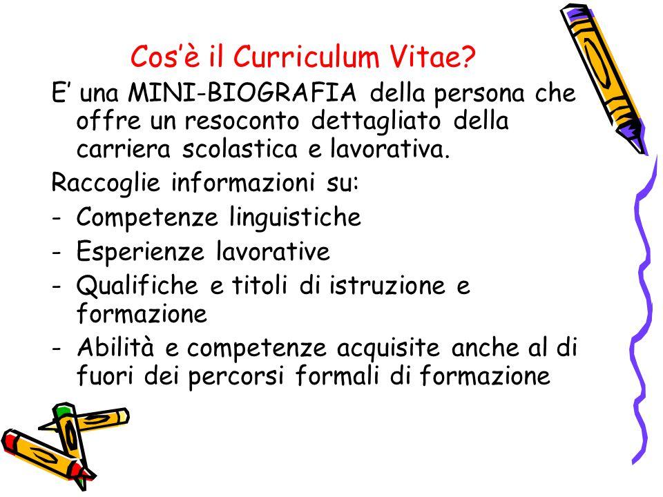 Cos'è il Curriculum Vitae? E' una MINI-BIOGRAFIA della persona che offre un resoconto dettagliato della carriera scolastica e lavorativa. Raccoglie in