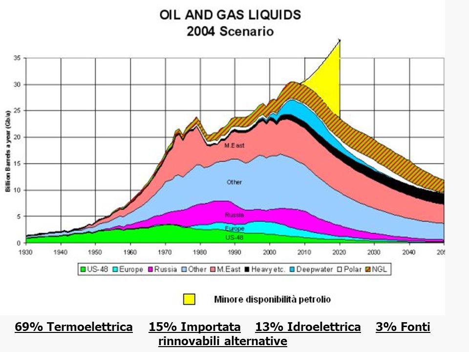 69% Termoelettrica 15% Importata 13% Idroelettrica 3% Fonti rinnovabili alternative