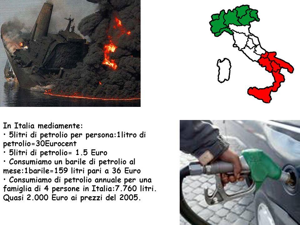 In Italia mediamente: 5litri di petrolio per persona:1litro di petrolio=30Eurocent 5litri di petrolio= 1.5 Euro Consumiamo un barile di petrolio al me