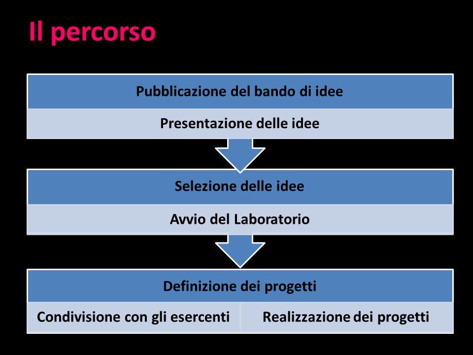 Il percorso Definizione dei progetti Condivisione con gli esercentiRealizzazione dei progetti Selezione delle idee Avvio del Laboratorio Pubblicazione del bando di idee Presentazione delle idee
