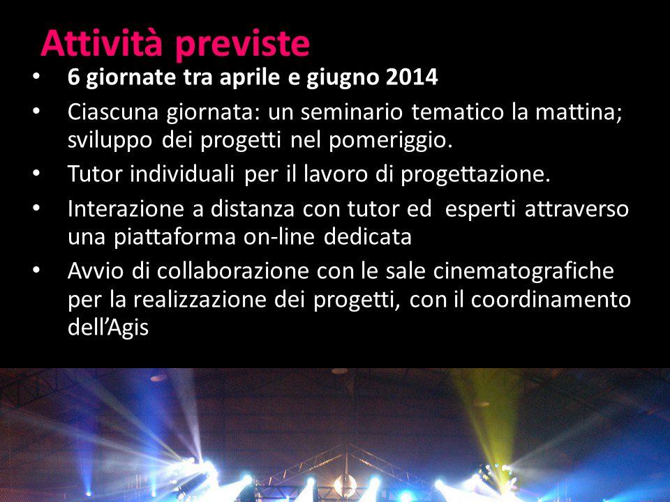 Attività previste 6 giornate tra aprile e giugno 2014 Ciascuna giornata: un seminario tematico la mattina; sviluppo dei progetti nel pomeriggio.