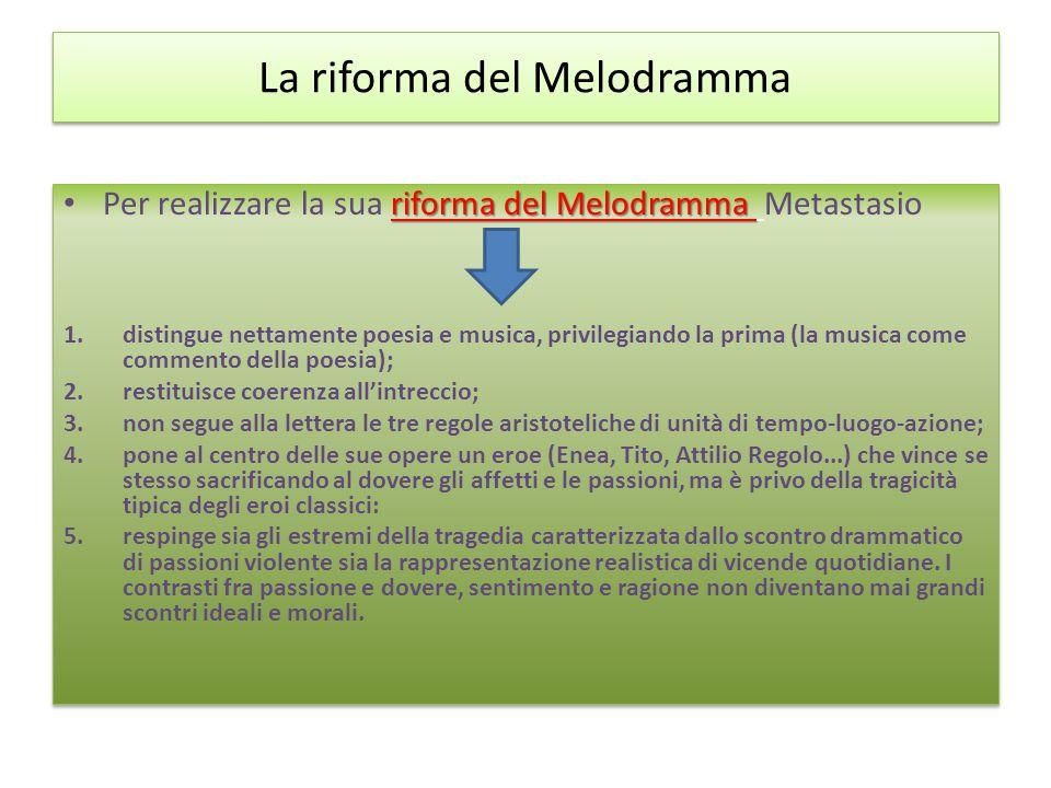 La riforma del Melodramma riforma del Melodramma Per realizzare la sua riforma del Melodramma Metastasio 1.distingue nettamente poesia e musica, privi