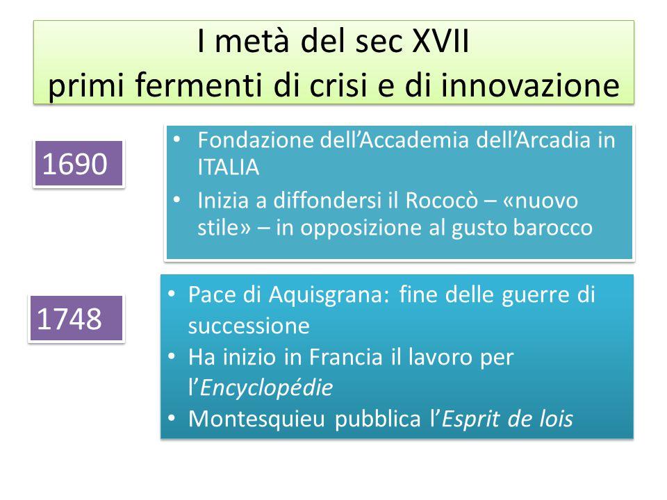 I metà del sec XVII primi fermenti di crisi e di innovazione Fondazione dell'Accademia dell'Arcadia in ITALIA Inizia a diffondersi il Rococò – «nuovo