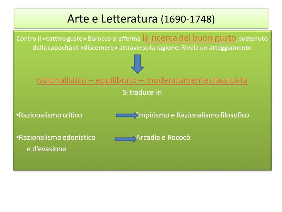 Arte e Letteratura (1690-1748) la ricerca del buon gusto Contro il «cattivo gusto» Barocco si afferma la ricerca del buon gusto, sostenuto dalla capac