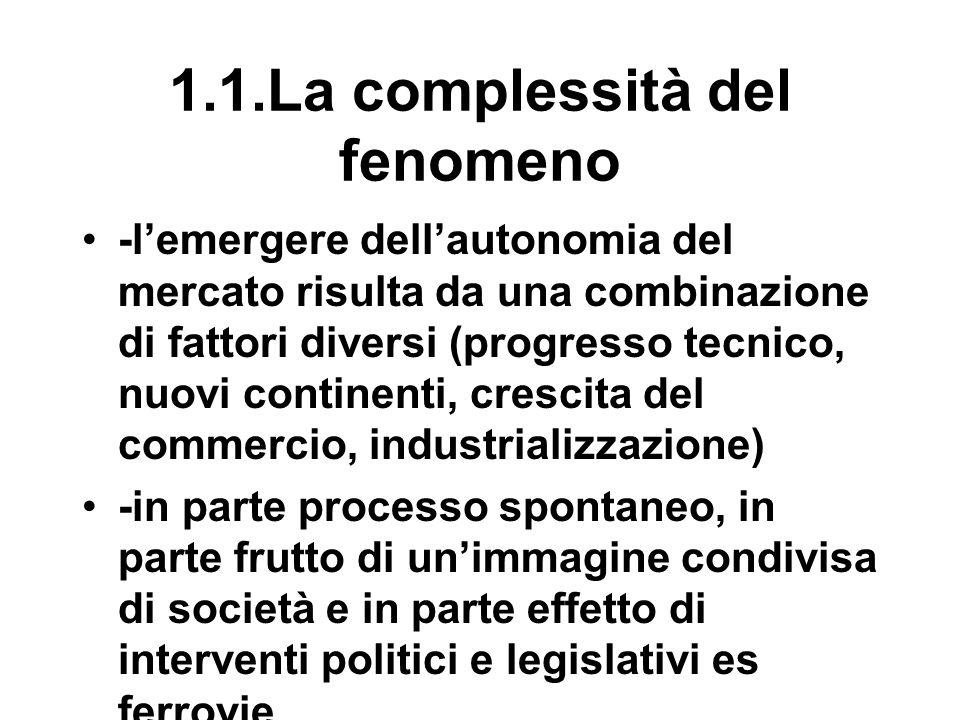 1.1.La complessità del fenomeno -l'emergere dell'autonomia del mercato risulta da una combinazione di fattori diversi (progresso tecnico, nuovi continenti, crescita del commercio, industrializzazione) -in parte processo spontaneo, in parte frutto di un'immagine condivisa di società e in parte effetto di interventi politici e legislativi es ferrovie