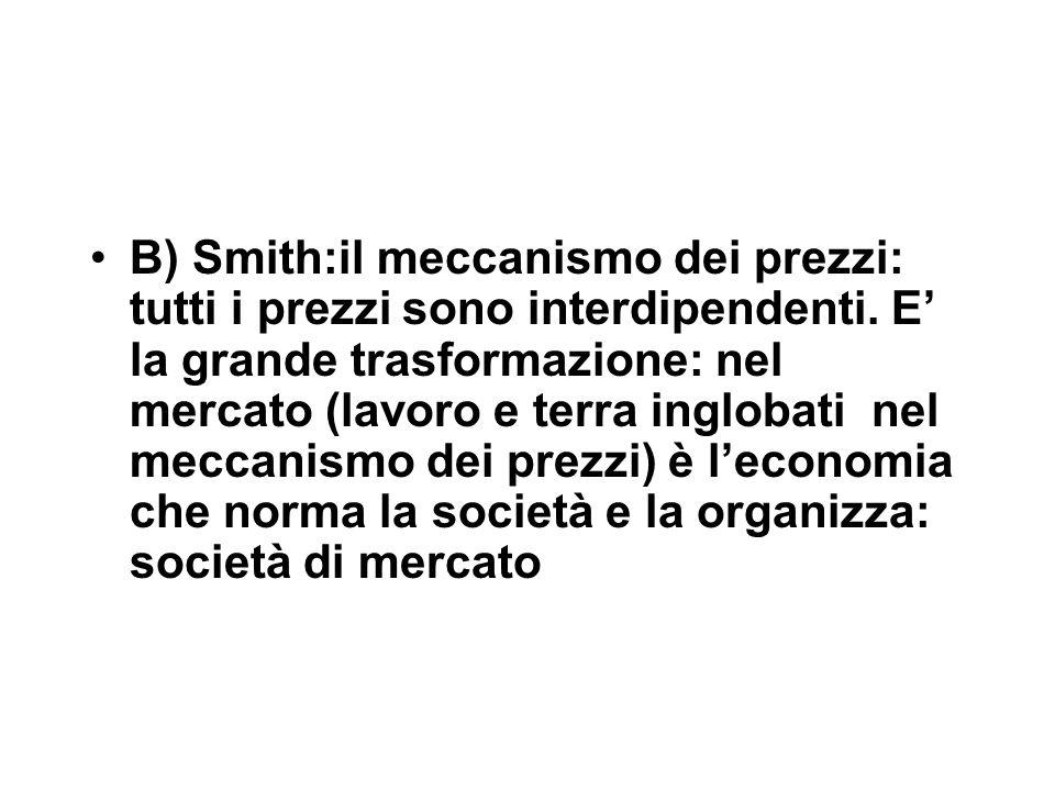 B) Smith:il meccanismo dei prezzi: tutti i prezzi sono interdipendenti.
