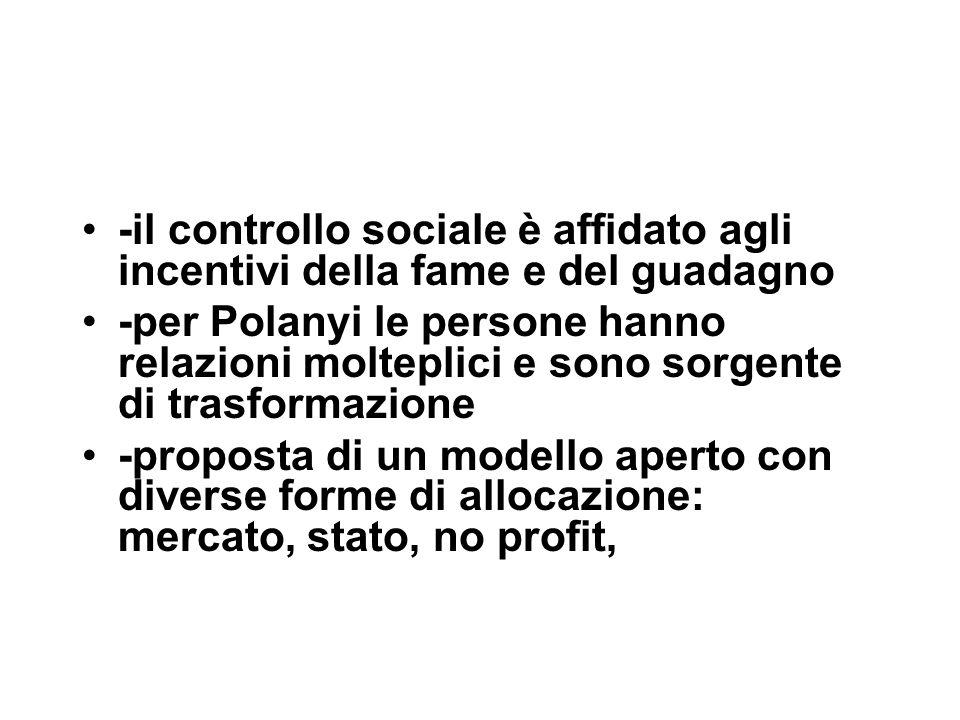 -il controllo sociale è affidato agli incentivi della fame e del guadagno -per Polanyi le persone hanno relazioni molteplici e sono sorgente di trasformazione -proposta di un modello aperto con diverse forme di allocazione: mercato, stato, no profit,