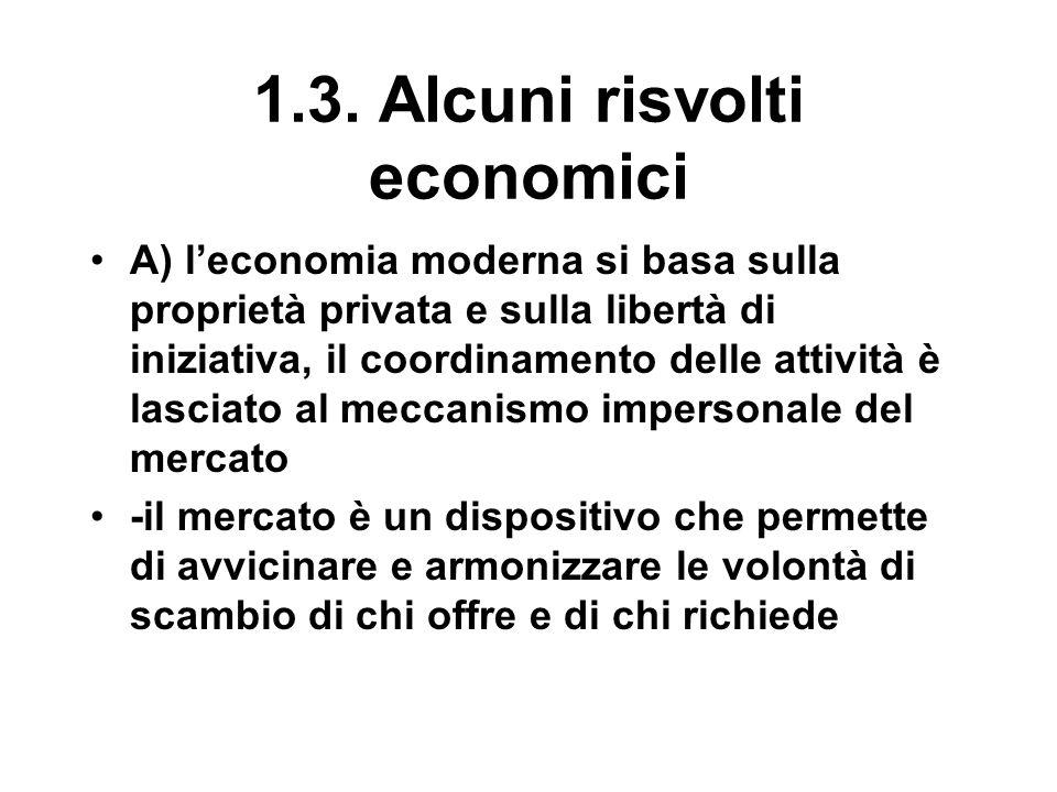 1.3. Alcuni risvolti economici A) l'economia moderna si basa sulla proprietà privata e sulla libertà di iniziativa, il coordinamento delle attività è
