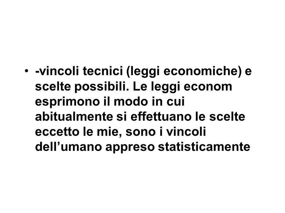 -vincoli tecnici (leggi economiche) e scelte possibili.