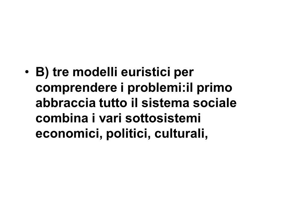 B) tre modelli euristici per comprendere i problemi:il primo abbraccia tutto il sistema sociale combina i vari sottosistemi economici, politici, culturali,