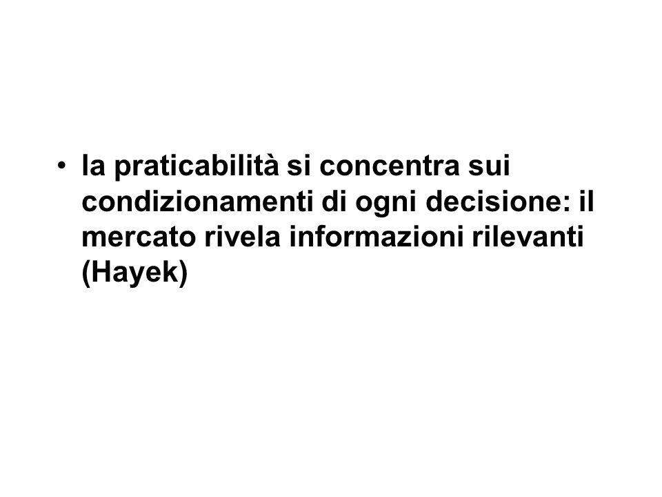 la praticabilità si concentra sui condizionamenti di ogni decisione: il mercato rivela informazioni rilevanti (Hayek)