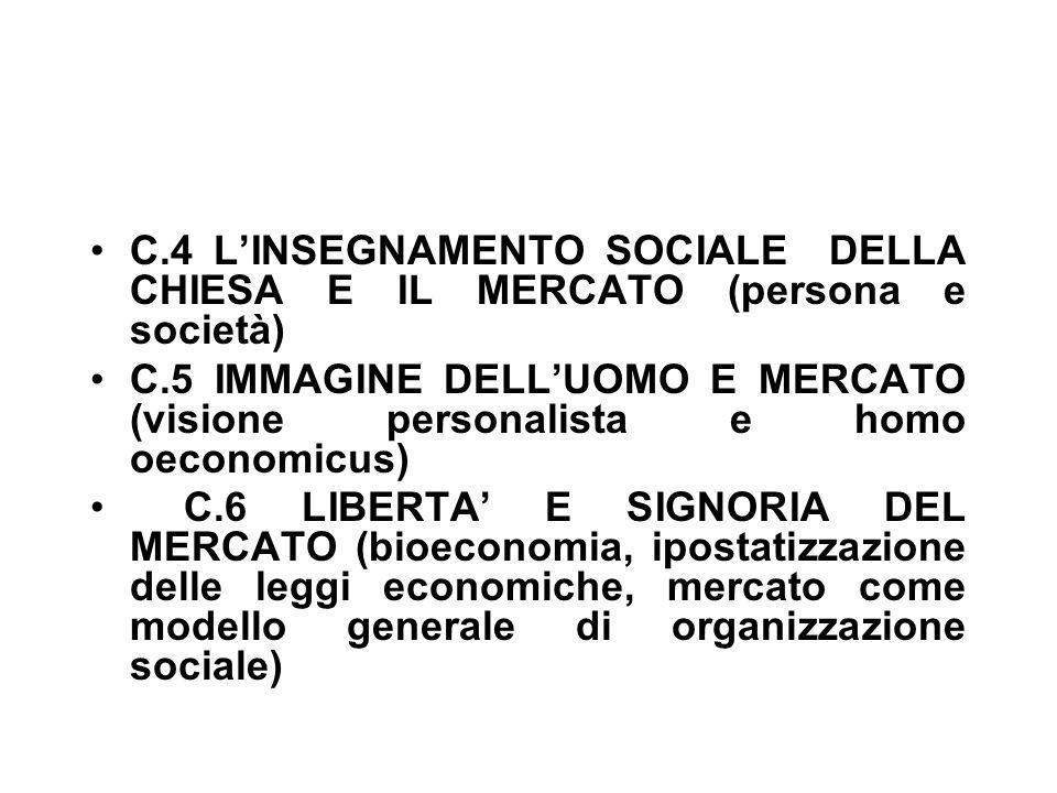C.4 L'INSEGNAMENTO SOCIALE DELLA CHIESA E IL MERCATO (persona e società) C.5 IMMAGINE DELL'UOMO E MERCATO (visione personalista e homo oeconomicus) C.6 LIBERTA' E SIGNORIA DEL MERCATO (bioeconomia, ipostatizzazione delle leggi economiche, mercato come modello generale di organizzazione sociale)