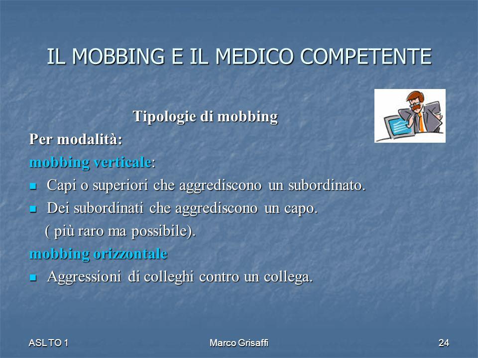 IL MOBBING E IL MEDICO COMPETENTE Tipologie di mobbing Per modalità: mobbing verticale: Capi o superiori che aggrediscono un subordinato.