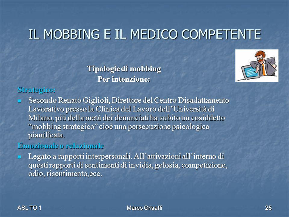 IL MOBBING E IL MEDICO COMPETENTE Tipologie di mobbing Per intenzione: Strategico: Secondo Renato Giglioli, Direttore del Centro Disadattamento Lavora