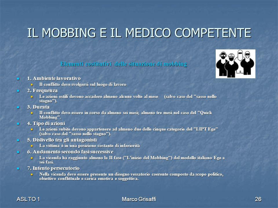 IL MOBBING E IL MEDICO COMPETENTE Elementi costitutivi delle situazione di mobbing 1. Ambiente lavorativo 1. Ambiente lavorativo Il conflitto deve svo